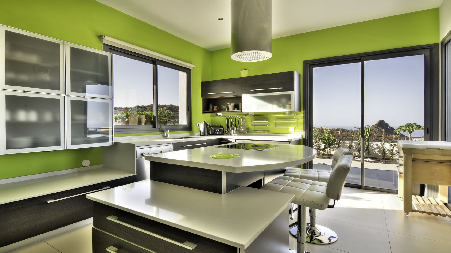 Modern Green Kitchen With Ocean View Home